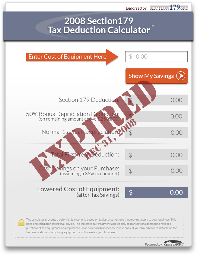 2008 Section179 Tax Deduction Calculator