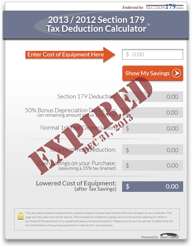 2012 and 2013 Section179 Tax Deduction Calculator